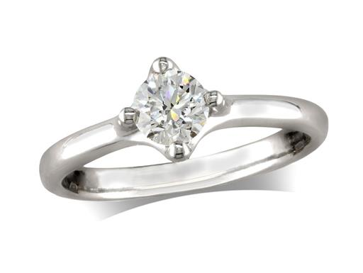 Platinum set single stone diamond engagement ring, with a certificated brilliant cut, in a four claw setting. Perfect fit with a wedding ring.