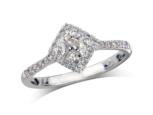 Platinum set diamond ring, with a certificated brilliant cut centre in a four claw setting, surrounded by a diamond set cluster and shoulders. Perfect fit with a wedding ring. Total diamond weight: 0.76ct.