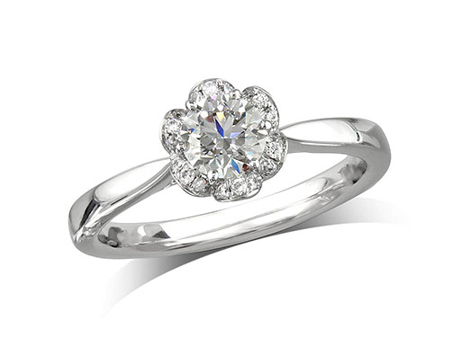 Platinum set diamond ring, with a certificated brilliant cut centre in a six claw setting, surrounded by a diamond set cluster. Perfect fit with a wedding ring. Total diamond weight: 0.59ct