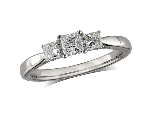 Platinum set three stone diamond engagement ring, with a certificated princess cut centre in a four claw setting, and one princess cut on each shoulder. Total diamond weight:  0.48ct.
