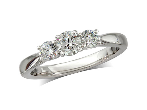 Platinum set three stone diamond engagement ring, with a certificated brilliant cut centre in a four claw setting, and one brilliant cut on each shoulder. Perfect fit with a wedding ring. Total diamond weight: 0.44ct.