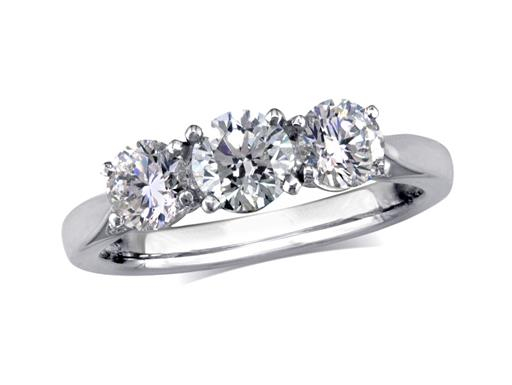 Platinum set three stone diamond engagement ring, with a certificated brilliant cut centre in a four claw setting, and one brilliant cut on each shoulder. Perfect fit with a wedding ring. Total diamond weight:0.89ct