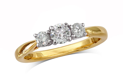 18 carat yellow gold set three stone diamond engagement ring, with a certificated brilliant cut centre in a four claw setting, and one brilliant cut on each shoulder. Perfect fit with a wedding ring. Total diamond weight: 0.64cts