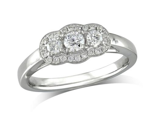 Platinum set three stone diamond engagement ring, with a certificated brilliant cut centre in a four claw setting, and one brilliant cut on each shoulder, with a surrounding diamond set bezel. Perfect fit with a wedding ring. Total diamond weight: 0.42ct