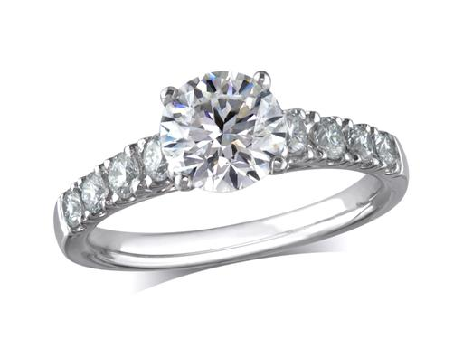 Platinum set single stone diamond engagement ring, with a certificated brilliant cut centre in a four claw setting, and diamond set shoulders. Perfect fit with a wedding ring. Total diamond weight: 1.69ct.