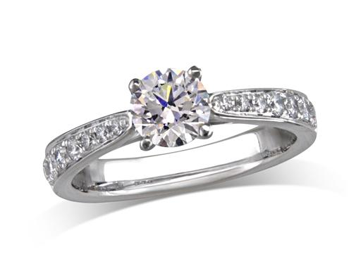 Platinum set single stone diamond engagement ring, with a certificated brilliant cut centre in a four claw setting, and diamond set shoulders. Perfect fit with a wedding ring. Total diamond weight: 1.02ct.