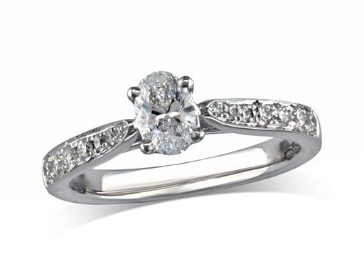 Platinum set single stone diamond engagement ring, with a certificated oval cut centre in a four claw setting, and diamond set shoulders. Perfect fit with a wedding ring. Total diamond weight: 0.62ct