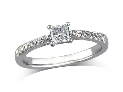 Platinum set single stone diamond engagement ring, with a certificated princess cut centre in a four claw setting, and diamond set shoulders. Perfect fit with a wedding ring. Total diamond weight: 0.41ct.