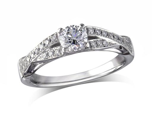 Platinum set single stone diamond engagement ring, with a certificated brilliant cut centre in a four claw setting, and diamond set shoulders. Perfect fit with a wedding ring. Total diamond weight: 0.56ct