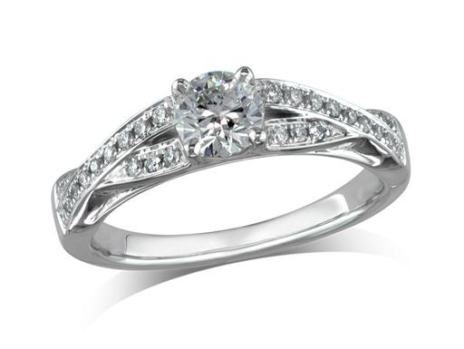 Platinum set single stone diamond ring with a certificated brilliant cut centre in a four claw setting. With diamond set twisted shank. wedding ring fit. Total diamond weight 0.73 ct