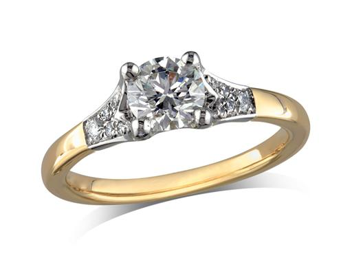 18 carat yellow gold set single stone diamond engagement ring, with a certificated brilliant cut centre in a four claw setting, and diamond set shoulders. Perfect fit with a wedding ring. Total diamond weight: 0.84ct.