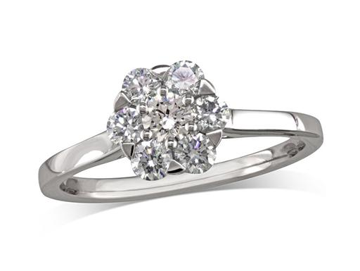Platinum set diamond cluster engagement ring, with a certificated brilliant cut centre in a six claw setting, surrounded by six brilliant cut diamonds. Perfect fit with a wedding ring. Total cluster diamond weight: 0.61