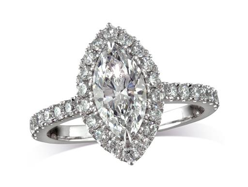 Platinum set diamond cluster engagement ring, with a certificated marquise cut centre in a claw setting, with a surrounding diamond set bezel and diamond set shoulders. Total cluster diamond weight: 2.28ct.