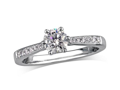 Platinum set single stone diamond engagement ring, with a certificated brilliant cut centre in a six claw setting, and diamond set shoulders. Perfect fit with a wedding ring. Total diamond weight:0.62