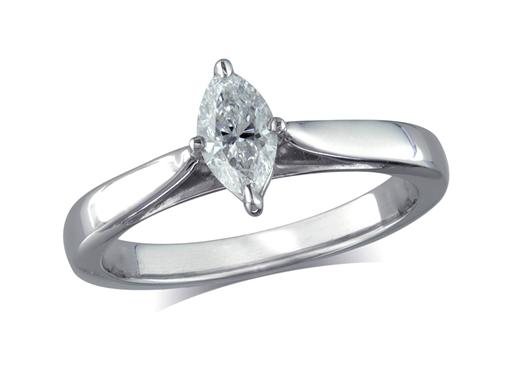Platinum set single stone diamond engagement ring, with a certificated marquise cut, in a four claw setting. Perfect fit with a wedding ring.