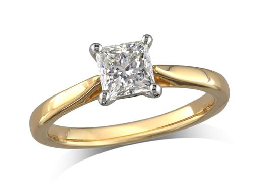 18 carat yellow gold set single stone diamond engagement ring, with a certificated princess cut, in a four claw setting. Perfect fit with a wedding ring.