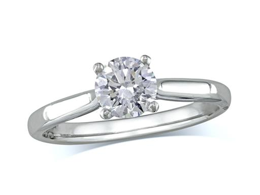 18ct white gold set single stone diamond engagement ring, with a certificated brilliant cut, in a four claw setting. Perfect fit with a wedding ring.