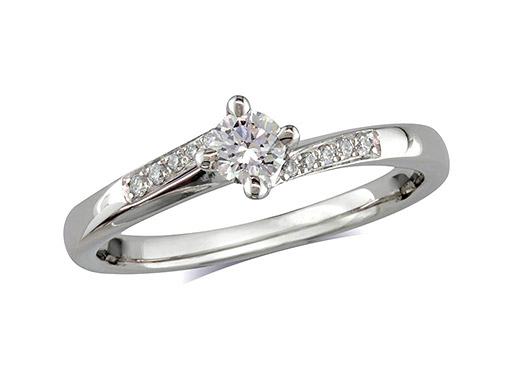 Platinum set single stone diamond engagement ring, with a certificated brilliant cut centre in a four claw setting, and diamond set shoulders. Perfect fit with a wedding ring. Total diamond weight: 0.30cts