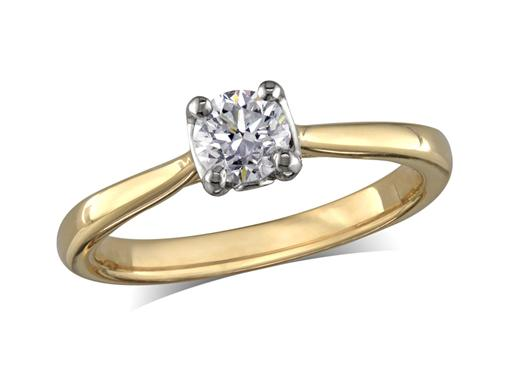 18ct yellow gold set single stone diamond engagement ring, with a certificated brilliant cut, in a four claw setting. Perfect fit with a wedding ring.