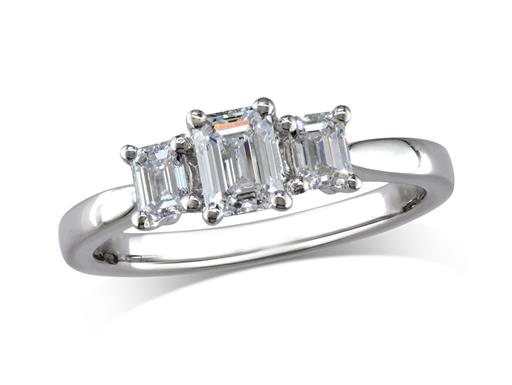 Platinum set three stone diamond engagement ring, with a certificated emerald cut centre in a four claw setting, and one emerald cut on each shoulder. Perfect fit with a wedding ring. Total diamond weight: 0.88cts