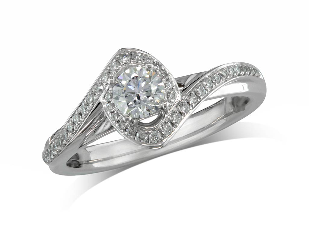 A 0.30, Brilliant, F, Cluster diamond ring. You can buy online or reserve online and view in store at Thurlow Champness, Bury St Edmunds