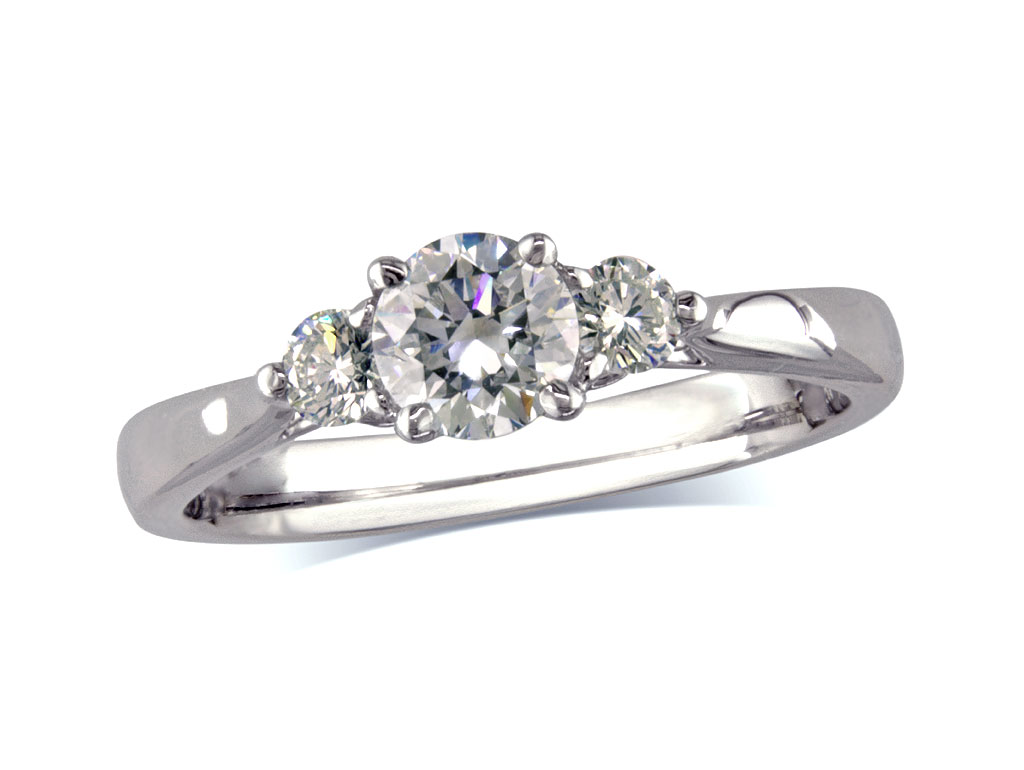 Platinum set three stone diamond engagement ring, with a certificated brilliant cut centre in a four claw setting, and one brilliant cut on each shoulder. Perfect fit with a wedding ring. Total diamond weight: 0.70ct.