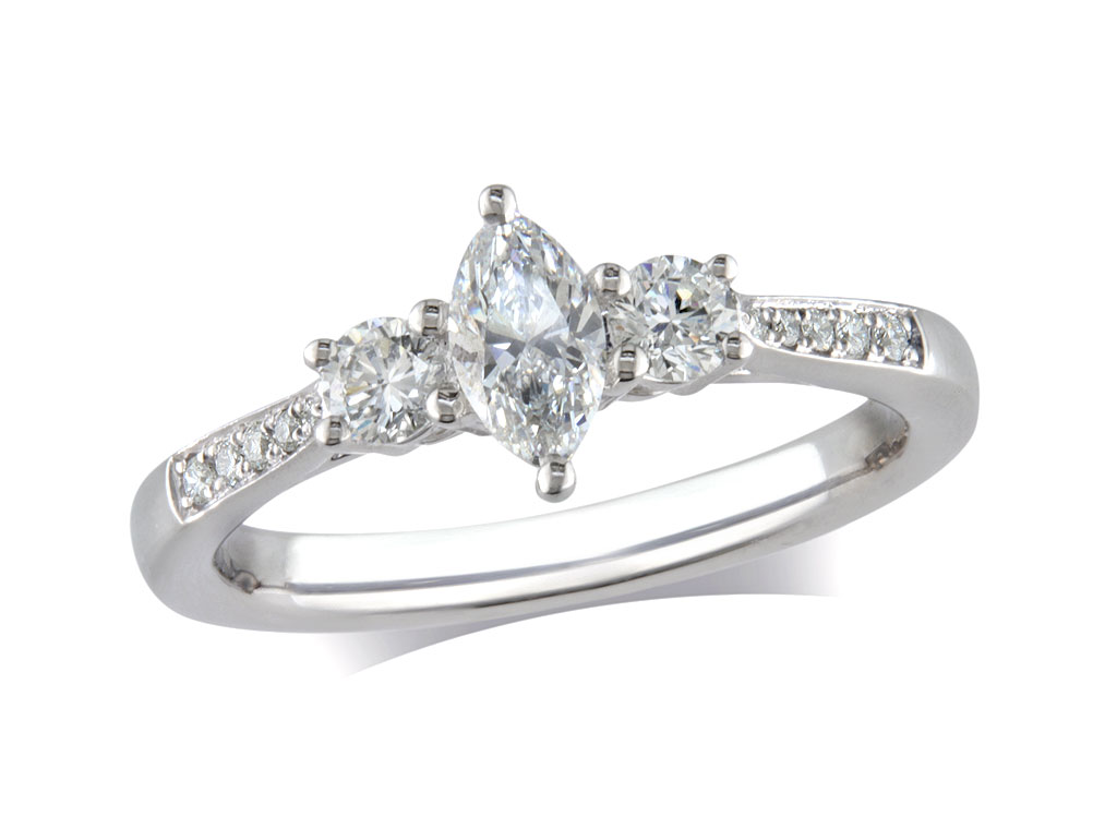 Platinum set three stone diamond engagement ring, with a certificated marquise cut centre in a four claw setting, and one brilliant cut on each side with diamond set shoulders. Perfect fit with a wedding ring. Total diamond weight: 0.57ct.