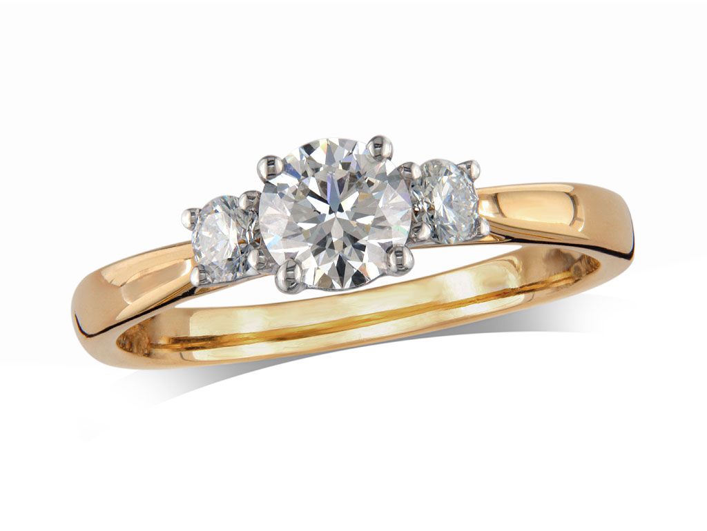 A 0.41ct, Brilliant, G, Three stone diamond ring. You can buy online or reserve online and view in store at Michael Jones Jeweller, Gold Street Northampton